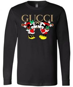 Gucci x Disney Mickey Christmas Long Sleeve - Shop Gucci x Disney Disney Shirts For Family, Couple Shirts, Mickey Christmas, Mens Sleeve, Tee Design, Disney Mickey, Gucci, Trending Outfits, Sleeves
