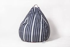 Pozitive Bean Bags - We make quality indoor and outdoor bean bags in a large variety of shapes, colors, patterns, and material. Black White Stripes, Blue And White, Beanbag Chair, Outdoor Bean Bag, Dark Colors, Baby Blue, Bucket Bag, Traditional, How To Make