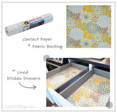 Fabric + Clear Contact Paper + Clear Acrylic Drawer Organizer Bins = Needs To Happen :) | Cape27Blog.com