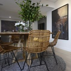 Modern earthy dining room l Timber dining table l Wire dining chairs l Horse artwork Timber Dining Table, Dining Area, Fashion Room, Home Fashion, Dining Room Furniture, Dining Chairs, Dining Rooms, Room Chairs, The Block Room Reveals
