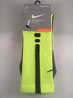 New Nike Hyper Elite Crew Basketball Socks Mens Shoe Size 8-12 Neon Yellow Black #Nike #Athletic