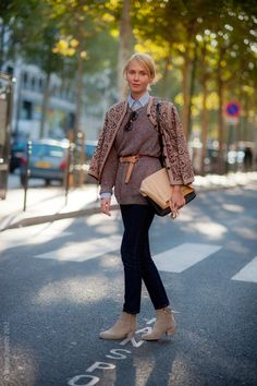love the taupe with the dark denim,   Repin Via: Diana Moss