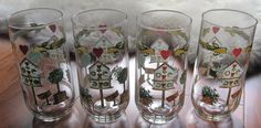 "4 Thomson Birdhouse Glasses Tumblers Coolers 5 7/8"" 16 Oz #Thomson"