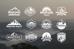 12 Badges & Stickers and 62 mountains icons Pack. A set of 12 Retro Vintage Badges & Stickers and 62 mountains icons which can be used as your logos, labels, badges, watermark and other