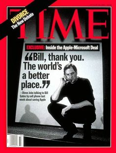 Today in Steve Jobs was on the cover of Time Magazine, thanking Bill Gates for saving Apple. Dale Carnegie, Bill Gates Steve Jobs, Steve Jobs Apple, Time Magazine, Magazine Covers, Magazine Table, Steve Wozniak, Life Quotes Love, What The World