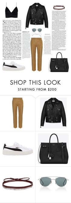 """Untitled #423"" by gezelxizv ❤ liked on Polyvore featuring Nina Ricci, Yves Saint Laurent, Puma, Fallon, Thom Browne and Chloé"