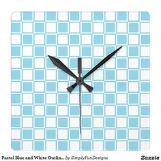 Pastel Blue and White Outlined Squares Square Wall Clock