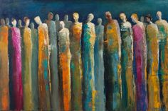 """""""Social Networking"""" abstract figurative painting, group, community, social networking, oil painting, contemporary artwork, contemporary figurative, colorful art..."""