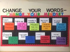 Growth Mindset Board for classroom or Bulletin Board. Classroom Bulletin Boards, Math Classroom, Classroom Organization, Classroom Management, Classroom Ideas, Counseling Bulletin Boards, Bulletin Board Ideas For Teachers, English Bulletin Boards, School Counseling Office