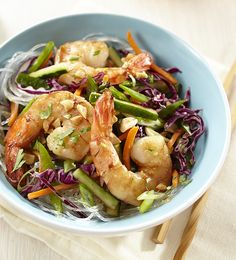 Serve this fresh and crunchy shrimp salad warm or chilled.