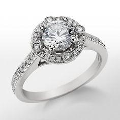 Monique Lhuillier Milgrain Halo Diamond Engagement Ring available at bluenile.com