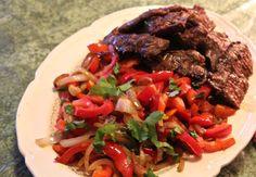 Steak Fajitas, sizzling hot, made at home.
