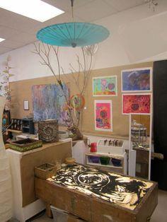 Reggio-inspired mini-atelier in the classroom or a corner of a larger studio space.