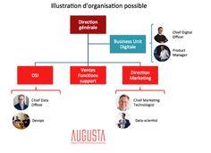 Schéma d'organisation Digital/DSI/Marketing/Data (Source : Augusta 2015)
