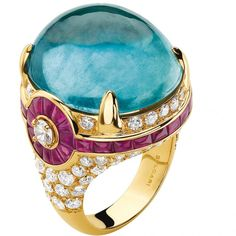 Cabochon aquamarine and ruby ring that combines the finest stones with a bigger-than-life approach to design, by Bulgari