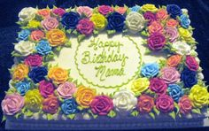 Wouldn't this be beautiful in shades of white, ivory and pinks - Floral Sheet Cake - 1/2 sheet, iced and decorated in basic buttercream.