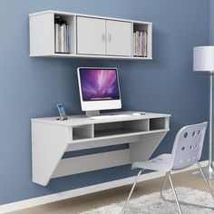 Floating desk, mounted to the wall. I love this idea! The site linked in the pin has other pieces similar to this as well.