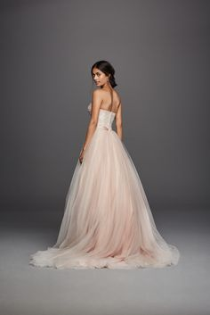 Strapless Ivory Blush Tulle Beaded Lace Ball Gown Jewel Wedding Dress available at David's Bridal