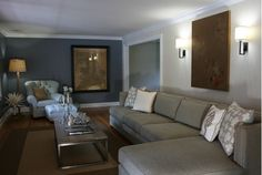 Living room renovation design, like the blue/gray accent wall! Long Couch, Pretty Room, Living Room Inspiration, My Dream Home, Family Room, Sweet Home, New Homes, House Design, Interior Design