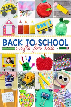Let's celebrate the start of a new school year with these 50 fabulous back to school crafts for preschool, pre k, kindergarten, grade 1, grade 2, and grade 3 students! We have tons of super cute back to school ideas for your first day of school. School Bus Crafts, Back To School Crafts For Kids, Back To School Gifts, Craft Stick Crafts, Crafts To Make, Fun Crafts, Back To School Worksheets, School Countdown, Personalized School Supplies