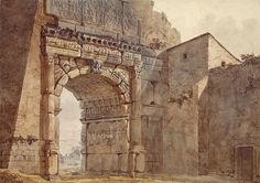 Arch of Titus in Rome - Charles-Louis Clerisseau - State Hermitage Museum Unofficial Rome Painting, Arch Of Titus, Arch Of Constantine, Hermitage Museum, Grand Tour, French Artists, Beautiful Paintings, Archaeology, Barcelona Cathedral
