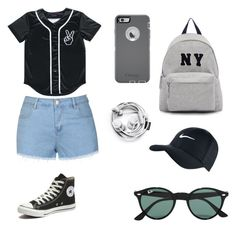 """""""School"""" by dudeitsaaliyah on Polyvore featuring Ally Fashion, Converse, Joshua's, Ray-Ban, NIKE, OtterBox, women's clothing, women, female and woman"""