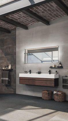 Contemporary Bathroom Mirrors, Modern Bathroom, Rustic Bedroom Design, Interior Design Living Room, Bathroom Trends, Bathroom Interior, Modern Kitchen Cabinets, Cuisines Design, Interior Design Inspiration