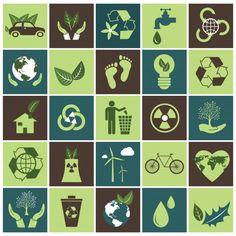 Conjunto de iconos de la ecología Vector Gratis