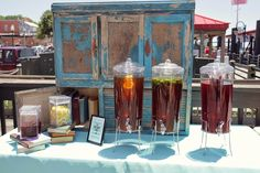 """Alice in Wonderland Inspired Wedding - Outdoor Drink Table - Outdoor Weddings - Wonderland Inspired """"Drink Me"""" Sign for Table with Books Decor RSVP: The RiverRoom Blog"""
