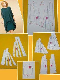Baby Girl Dress Patterns, Dress Making Patterns, Skirt Patterns Sewing, Clothing Patterns, Big Size Dress, Sewing Blouses, Couture Sewing, Pattern Cutting, Pattern Drafting