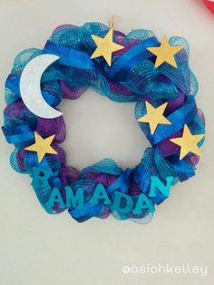 My Ramadan deco mesh and ribbon wreath. All items from Michael's.