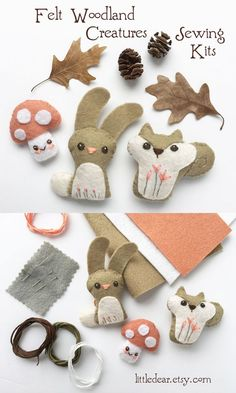 felt creations Sew your own adorable mini felt woodland creatures with a kit from little dear! You'll love stitching up a tiny new felt animal friend with this fun and easy DIY craft ki Animal Sewing Patterns, Felt Patterns, Stuffed Animal Patterns, Craft Patterns, Diy Art Projects, Sewing Projects, Simple Projects, Felt Diy, Handmade Felt