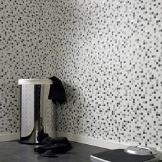 Cool wallpaper for bath, black white and gray $50