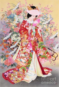 Browse through images in MGL Meiklejohn Graphics Licensing's Haruyo Morita collection. Japanese artist, Haruyo Morita, worked as a kimono painter and designer until 1972 before turning to painting canvases. Now an acclaimed artist her work. Japanese Drawing, Japanese Painting, Japanese Geisha, Japanese Kimono, Art Geisha, Asian Artwork, Art Chinois, Art Asiatique, Art Japonais