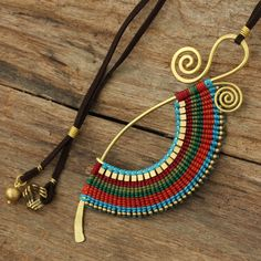 love asymmetry Woven cotton necklace with brass accents by cafeandshiraz on Etsy, $69.00