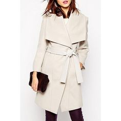 OL Style Turn-Down Collar Off-White Long Sleeve Coat For Women
