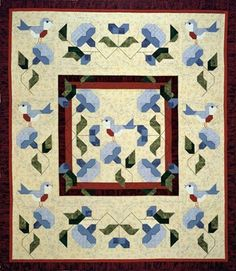 Bluebird of Happiness pieced quilt pattern by Pam Bono ♥