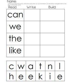 Read, Write, Build: Love this idea for an at-home way to pratice sight words or outlaw words. Would work great for a independent work time during Guided Reading or small group, too! Teaching Sight Words, Sight Word Activities, Spelling Activities, Letter Activities, Kindergarten Language Arts, Kindergarten Literacy, Kindergarten Independent Work, Reading Centers, Literacy Centers