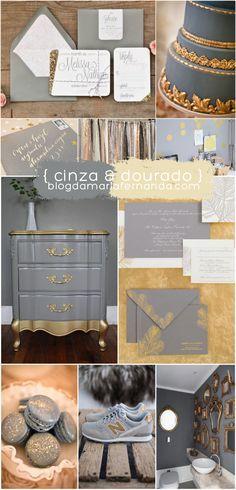 Decoração de Casamento Paleta de Cores Cinza e Dourado   Wedding Inspiration Board Color Palette Grey and Gold