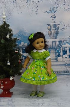 Santa's Elves  vintage style dress for American by cupcakecutiepie