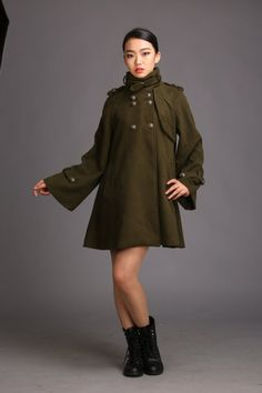 Women's vintage wool coat trumpet sleeve cape coat autumn winter coat oversize army green cloak BJ17,s,m,l,xl by Dressbeautiful on Etsy