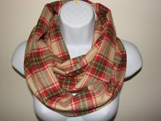Camel Red Green Plaid Infinity Scarf, Tan Beige Olive flannel Infinity Scarf, Cotton Circle Loop Cowl Woman Man Unisex Fall Winter Fashion