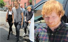 """6 coisas que provam: Ed Sheeran é o rei da friendzone  5. Nos dias seguintes, Taylor Swift e Calvin Harris saíram para um passeio em Nova York. E quem estava com eles? Ed Sheeran! Novamente com aquela carinha de: """"vendo você beijar outras bocas""""."""