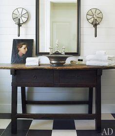 Circa-1860 Asian table as vanity w/  Turkish bowl as basin; Amelia Handegan