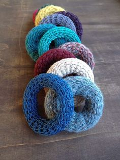 knitted bangles in wool and paperyarn