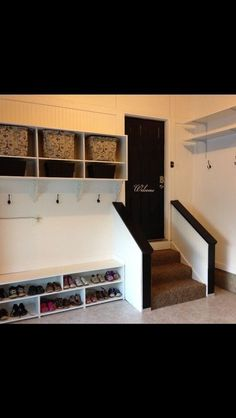 """Mud room in garage. I want an indoor mud room too. but the more I think about it, I don't want """"mud"""" in my house. so maybe one in my garage could be intended for bloody, muddy hunting clothes/boots Mud Room Garage, Garage House, Diy Garage, Garage Entryway, Garage Lockers, Garage Steps, Garage Mudrooms, Garage Workbench, Garage Walls"""