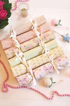 DIY Christmas crackers | Floral scrapbooking paper Christmas crackers tutorial | Mollie Makes.