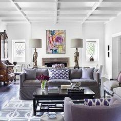 Purple And Gray Living Room With Glossy White Box Beams, Purple Velvet ... Gray  SofaGrey ...