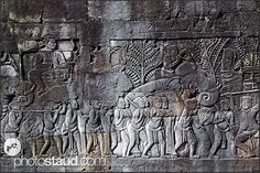 Detail of bas relief at the Bayon Temple showing Khmer warriors, Angkor Thom, Cambodia 4 Tattoo, Angkor, Warriors, Egypt, Temple, Photo Galleries, Asia, Lost, Japan