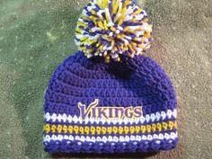 c5d4a831ef1 Crochet Beanie Baby Hat Minnesota Vikings by JillieBeansCrochet